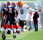 11 October 2009: Cleveland Browns' place kicker Billy Cundiff warms up prior to a game against the Buffalo Bills at Ralph Wilson Stadium in Orchard Park, New York. The Browns defeated the Bills 6-3 for Cleveland's first win of the season...Mandatory Photo Credit: Ed Wolfstein Photo