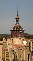 Church of Reparacion and below, Casa Grego, Tortosa, Tarragona, Spain. The church was built in 1899 by the architect Joan Abril i Guanyabens and has an octagonal stained glass skylight with an iron belfry. Casa Grego is a modernist building dating from 1907-8 by the architect Pau Monguio. Picture by Manuel Cohen