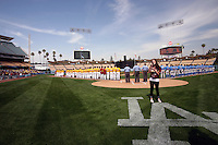 13 March 2011: NCAA Pac-10 college UCLA-USC sports rivalry baseball teams met in a non-conference game at Dodger Stadium as part of the Dodgertown Classic.  USC Trojans defeated the UCLA Bruins 2-0 during an afternoon weekend game inside the MLB stadium.