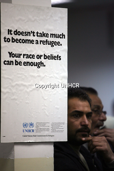 Refugees register the UNHCR offices in Amman, Jordan February 12, 2008. (Courtesey of Salah Malkawi)