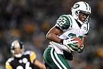 PITTSBURGH, PA - JANUARY 23: Brodney Pool #22 of the New York Jets runs with the ball after an interception against the Pittsburgh Steelers in the AFC Championship Playoff Game at Heinz Field on January 23, 2011 in Pittsburgh, Pennsylvania(Photo by: Rob Tringali) *** Local Caption *** Brodney Pool