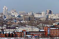 Barnaul, Altai Region, Siberia, Russia, 24/02/2011..Panorama of Barnaul city centre.
