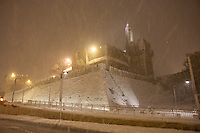 View of the Tower of David in Jerusalem's Old City seen  on a snowy night. December 14, 2013.  Photo by Oren Nahshon