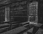 HDR image of the interior of the Little Greenbrier Schoolhouse in the Great Smoky Mountains National Park.