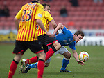 Partick Thistle v St Johnstone.....14.03.15<br /> Chris Kane is fouled by Conrad Balatoni<br /> Picture by Graeme Hart.<br /> Copyright Perthshire Picture Agency<br /> Tel: 01738 623350  Mobile: 07990 594431