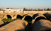 """General view of the Roman cisterns (known on French as """"Citernes de la Malga"""") in Carthage, Tunisia, pictured on January 27, 2008, in the morning. Carthage was founded in 814 BC by the Phoenicians who fought three Punic Wars against the Romans over this immensely important Mediterranean harbour. The Romans finally conquered the city in 146 BC. Subsequently it was conquered by the Vandals and the Byzantine Empire. Today it is a UNESCO World Heritage. The 24 large Roman cisterns where supplied with water from the Roman aqueduct, built in the 2nd century by the emperor Hadrian. Picture by Manuel Cohen."""