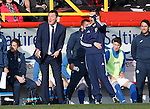 Aberdeen v St Johnstone...03.10.15   SPFL   Pittodrie, Aberdeen<br /> Tommy Wright and 4th official Andrew Dallas react <br /> Picture by Graeme Hart.<br /> Copyright Perthshire Picture Agency<br /> Tel: 01738 623350  Mobile: 07990 594431