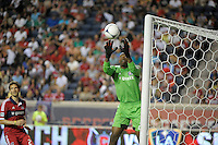 Chicago goalkeeper Sean Johnson (25) makes a save.  The Chicago Fire defeated the Columbus Crew 2-1 at Toyota Park in Bridgeview, IL on June 23, 2012.