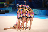 August 24, 2008; Beijing, China; Rhythmic group from Belarus begins 5-ropes routine on way to taking silver in the group All-Around final at 2008 Beijing Olympics..(©) Copyright 2008 Tom Theobald
