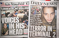 New York tabloid newspapers on Saturday, January 7, 2017 report on the previous days shooting by Esteban Santiago in Fort Lauderdale airport killing 5 and wounding 8. (© Richard B. Levine)