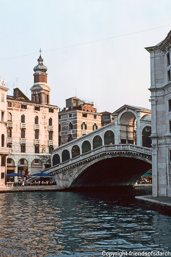 Venice: #3. Grand Canal in evening light--approaching Rialto Bridge.  Photo '83.
