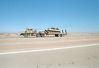 Military vehicles being moved in the desert between Baghdad and the border with Jordan, while UN weapons inspectors  (February 1998) look for WMDs (weapons of mass destruction). The UNSCOM weapons inspectors left Iraq later that year.<br /> <br /> <br /> <br /> &copy;Fredrik Naumann/Felix Features