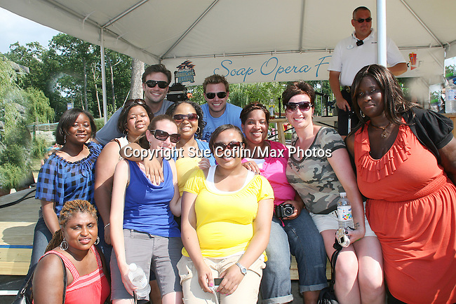 Ashby's Angels (Shawana, Jennifer, Trecia, Kate, Alicia, Beth, Nicole, Sheria, Gigi) pose with Daniel at Joyce Becker's Soap Opera Festivals present Young and Restless' Daniel Goddard at Six Flags Hurricane Harbor on July 26, 2009 in Jackson, New Jersey. (Photo by Sue Coflin/Max Photos)