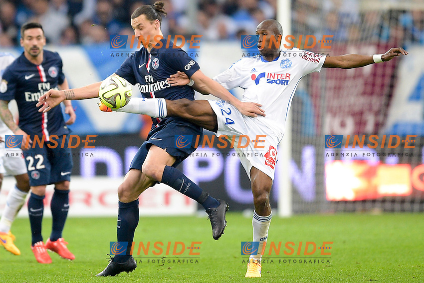 Rod FANNI (OM) vs Zlatan Ibrahimovic (PSG) <br /> Football Calcio 2014/2015<br /> Ligue 1 Francia Stadio VelodromeOlympique Marsiglia - Paris Saint Germain <br /> Foto Panoramic / Insidefoto <br /> ITALY ONLY