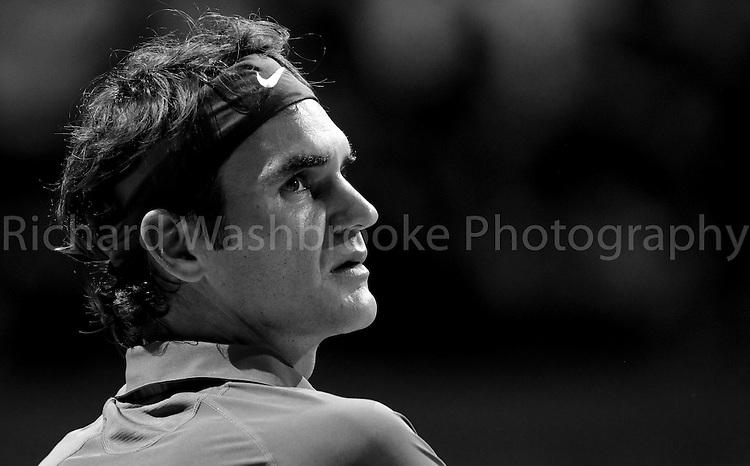 Barclays ATP World Tour Finals 2013<br /> <br /> Roger Federer (SUI) beat Richard Gasquet (FRA)  6:4  6:3<br /> <br /> Wednesday 7th November 2013<br /> <br /> Photo: Richard Washbrooke Sports Photography<br /> Barclays ATP World Tour Finals 2013<br /> <br /> Wednesday 7th November 2013<br /> <br /> Photo: Richard Washbrooke Sports Photography