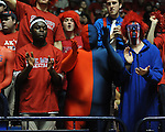 Ole Miss fans cheer vs. Mississippi State at the C.M. &quot;Tad&quot; Smith Coliseum in Oxford, Miss. on Wednesday, January 18, 2012. (AP Photo/Oxford Eagle, Bruce Newman).