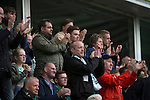 Hibernian 3 Alloa Athletic 0, 12/09/2015. Easter Road stadium, Scottish Championship. Home supporters applauding John McGinn after he scored his side's third goal at Easter Road stadium during second-half of the Scottish Championship match between Hibernian and visitors Alloa Athletic. The home team won the game by 3-0, watched by a crowd of 7,774. It was the Edinburgh club's second season in the second tier of Scottish football following their relegation from the Premiership in 2013-14. Photo by Colin McPherson.