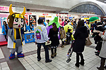 various Japanese Yuru chara mascots at a culture promotion event