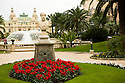 Fountains and gardens of world famous Monte-Carlo Casino in Monaco.  On the southern coast of France.