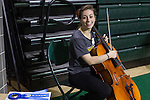 Lily Gelfand, a sophomore BFA dance major in the Honors Tutorial College, wins first place in fine arts for her use of a pedal loop system at the Student Expo on April 14, 2016. Gelfand uses the pedal to loop her live cello music during dance classes and performances. Photo by Emily Matthews