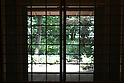 July 20, 2010 - Niiza, Japan - Heirinji's wood, part of the Rinzai temple of the Myoshin-ji branch located in Niiza city, is seen through a door window on July 20, 2010. Visiting the temple is part of the 'True Japan Saitama - Zen Medidation and Buddhist Vegetarian Cuisine' tour, organized by the travel agency JTB for leisure travelers.