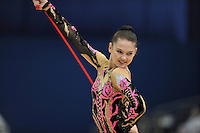 September 11, 2009; Mie, Japan;  Alina Maksymenko of Ukraine expresses with rope to place 16th in the individual All Around at 2009 World Championships Mie. Photo by Tom Theobald .