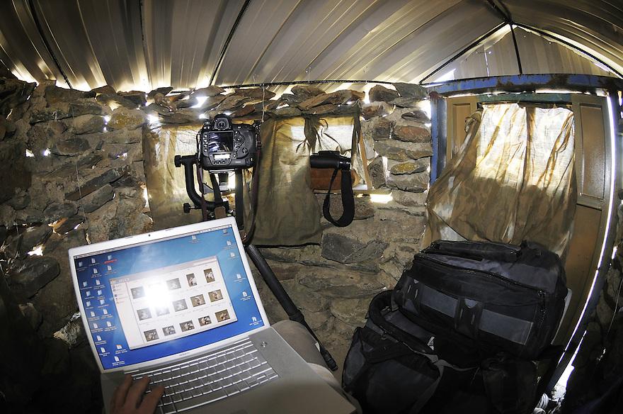 Staffan Widstrands cameras in hide for bustards, La Serena, Extremadura, Spain