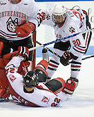Luke Eibler (Northeastern - 20), C.J. Lee (RPI - 22) - The visiting Rensselaer Polytechnic Institute Engineers tied their host, the Northeastern University Huskies, 2-2 (OT) on Friday, October 15, 2010, at Matthews Arena in Boston, MA.
