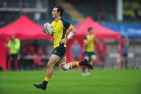 Liam McNamara of Australia runs in a try. FISU World University Championship Rugby Sevens Men's Semi Final between Australia and Spain on July 9, 2016 at the Swansea University International Sports Village in Swansea, Wales. Photo by: Patrick Khachfe / Onside Images