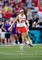 Brittany Poist (27) of Maryland celebrates as time runs out during the NCAA Championship held in Johnny Unitas Stadium at Towson University in Towson, MD.  Maryland defeated Northwestern, 13-11, to win the title.