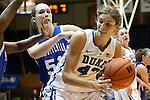 17 November 2012: Duke's Allison Vernerey (FRA) (43) and Presbyterian's Mariah Pietrowski (51). The Duke University Blue Devils played the Presbyterian College Blue Hose at Cameron Indoor Stadium in Durham, North Carolina in an NCAA Division I Women's Basketball game. Duke won the game 84-45.
