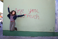 """Iconic Austin: """"i love you so much"""" mural in a famous Austin landmark on South Congress Avenue in downtown Austin, Texas - Stock Image."""