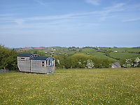 From its elevated location in the meadow, the shepherd's hut has views over the glorious Devon countryside