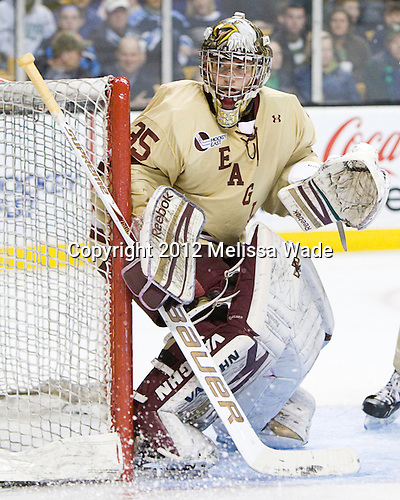 Parker Milner (BC - 35) - The Boston College Eagles defeated the University of Maine Black Bears 4-1 to win the 2012 Hockey East championship on Saturday, March 17, 2012, at TD Garden in Boston, Massachusetts.
