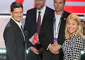 United States Speaker of the House Paul Ryan (Republican of Wisconsin) and his wife Janna prepare to leave the podium after participating in a rehearsal prior to the 2016 Republican National Convention in Cleveland, Ohio on Sunday, July 17, 2016.  Standing behind them and pointing is US .<br /> Credit: Ron Sachs / CNP<br /> (RESTRICTION: NO New York or New Jersey Newspapers or newspapers within a 75 mile radius of New York City)