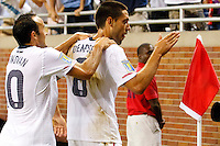 7 June 2011: USA Men's National Team midfielder Landon Donovan (10) congratulates forward Clint Dempsey (8) for his goal in the second half during the CONCACAF soccer match between USA and Canada at Ford Field Detroit, Michigan. USA won 2-0.