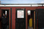 Prescot Cables 2 Brighouse Town 1, 13/02/2016. Hope Street, Northern Premier League. An exterior view of the stadium's turnstiles pictured before Prescot Cables played Brighouse Town in a Northern Premier League division one north fixture at Valerie Park. Founded in 1884, the 'Cables' in their name came from the largest local employer, British Insulated Cables and they have played in their current ground, also known as Hope Street, since 1906. Prescott won the match 2-1 watched by a crowd of 189. Photo by Colin McPherson.