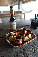 Mezcal at Lantigua restaurant between Cacahuamilpa and Taxco, Guerrero, Mexico