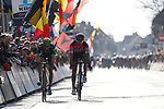 Greg Van Avermaet (BEL) BMC Racing Team outsprints Jens Keukeleire (BEL) Orica-Scott to win Gent-Wevelgem in Flanders Fields 2017 running 249km from Denieze to Wevelgem, Flanders, Belgium. 26th March 2017.<br /> Picture: Yuzuru Sunada | Cyclefile<br /> <br /> <br /> All photos usage must carry mandatory copyright credit (&copy; Cyclefile | Eoin Clarke)