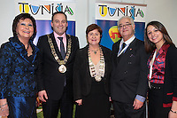NO FEE PICTURES.25/1/13 Maureen Ledwith, Director Holiday World, Lord Mayor of Dublin is Naoise Ó Muirí and Clare Dunne, President ITAA with Jouda Louahchi and Moncef Battikh at the Holiday World Show at the RDS, Dublin. Picture:Arthur Carron/Collins