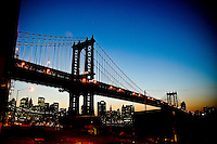 Shape at sunset of the Manhattan Bridge from John street in DUMBO, Brooklyn, New york, 2008.