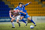 St Johnstone v Hamilton Accies....02.02.11  .Stevie May is fouled by Martin Canning.Picture by Graeme Hart..Copyright Perthshire Picture Agency.Tel: 01738 623350  Mobile: 07990 594431
