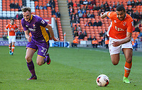 Blackpool's Colin Daniel gets away from Cheltenham Town's Carl Winchester<br /> <br /> Photographer Alex Dodd/CameraSport<br /> <br /> The EFL Sky Bet League Two - Blackpool v Cheltenham Town - Saturday 22nd April 2017 - Bloomfield Road - Blackpool<br /> <br /> World Copyright &copy; 2017 CameraSport. All rights reserved. 43 Linden Ave. Countesthorpe. Leicester. England. LE8 5PG - Tel: +44 (0) 116 277 4147 - admin@camerasport.com - www.camerasport.com