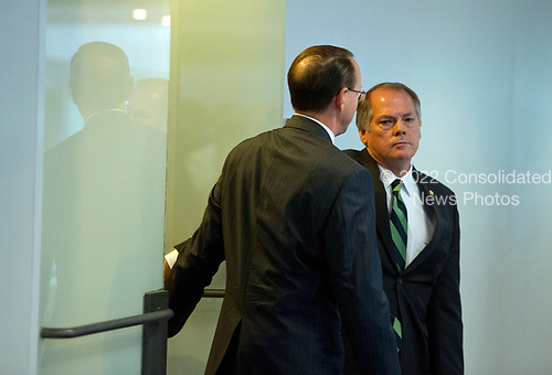 United States Deputy Attorney General Rod J. Rosenstein, left, departs after meeting with US Senator Richard Burr (Republican of North Carolina), Chairman, US Senate Select Committee on Intelligence, right, and US Senator Mark Warner (Democrat of Virginia), Vice Chairman, US Senate Select Committee on Intelligence, on Capitol Hill in Washington, DC on Thursday, May 11, 2017.<br /> Credit: Ron Sachs / CNP<br /> (RESTRICTION: NO New York or New Jersey Newspapers or newspapers within a 75 mile radius of New York City)