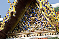Decorative frieze pediment on the Grand Palace, Bangkok, Thailand