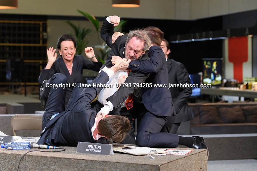 Toneelgroep Amsterdam presents<br /> &quot;Roman Tragedies&quot;, a seamless interpretation of William Shakespeare's &quot;Coriolanus&quot;, Julius Caesar&quot; and &quot;Anthony and Cleopatra&quot;, in the Barbican Theatre. The Barbican first introduced Toneelgroep Amsterdam to UK audiences in 2009 with this same production. Picture shows: Coriolanus.
