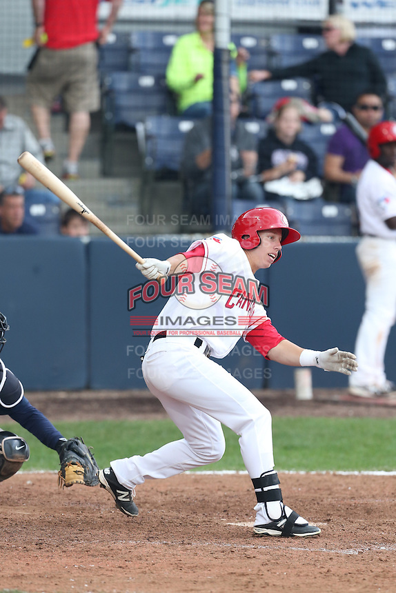 Brenden Kalfus # 7 of the Vancouver Canadians bats against the Hillsboro Hops at Nat Bailey Stadium on July 24, 2014 in Vancouver, British Columbia. Hillsboro defeated Vancouver, 7-3. (Larry Goren/Four Seam Images)