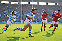 Santiago Cordero of Argentina runs in a second half try. Rugby World Cup Pool C match between Argentina and Tonga on October 4, 2015 at Leicester City Stadium in Leicester, England. Photo by: Patrick Khachfe / Onside Images