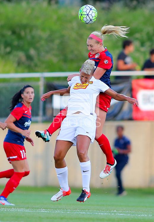 Boyds, MD - Saturday Sept. 03, 2016: Megan Oyster, Lianne Sanderson during a regular season National Women's Soccer League (NWSL) match between the Washington Spirit and the Western New York Flash at Maureen Hendricks Field, Maryland SoccerPlex.