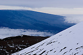 Snow-covered cinder cones on Mauna Kea